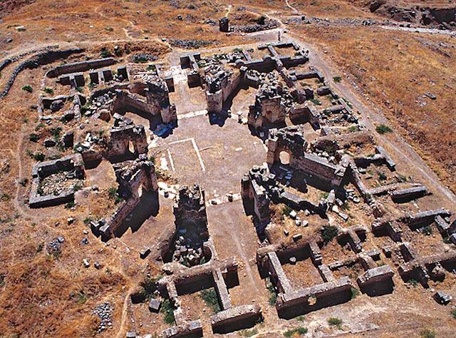 Vista aérea das ruínas do Martyrion