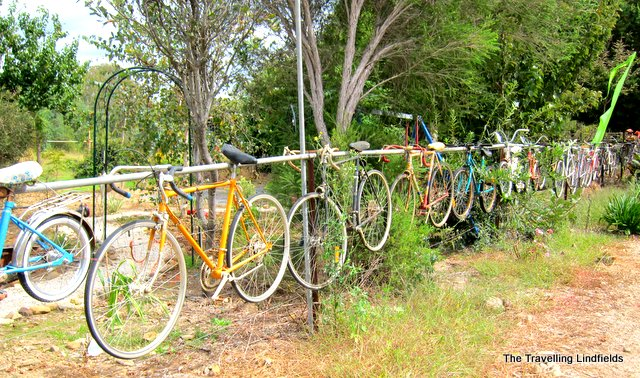 Murray to Mountains Rail Trail bikes on fence
