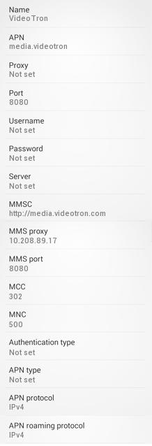 Videotron APN settings for Android HTC Nexus One Galaxy S5 S6