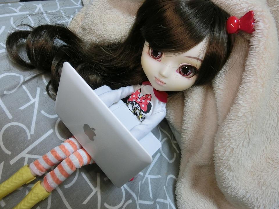Pullip с миниатюрным ноутбуком