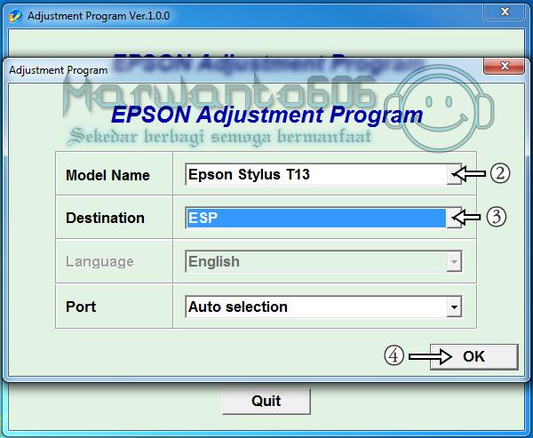 Cara Reset Printer Epson Stylus T13