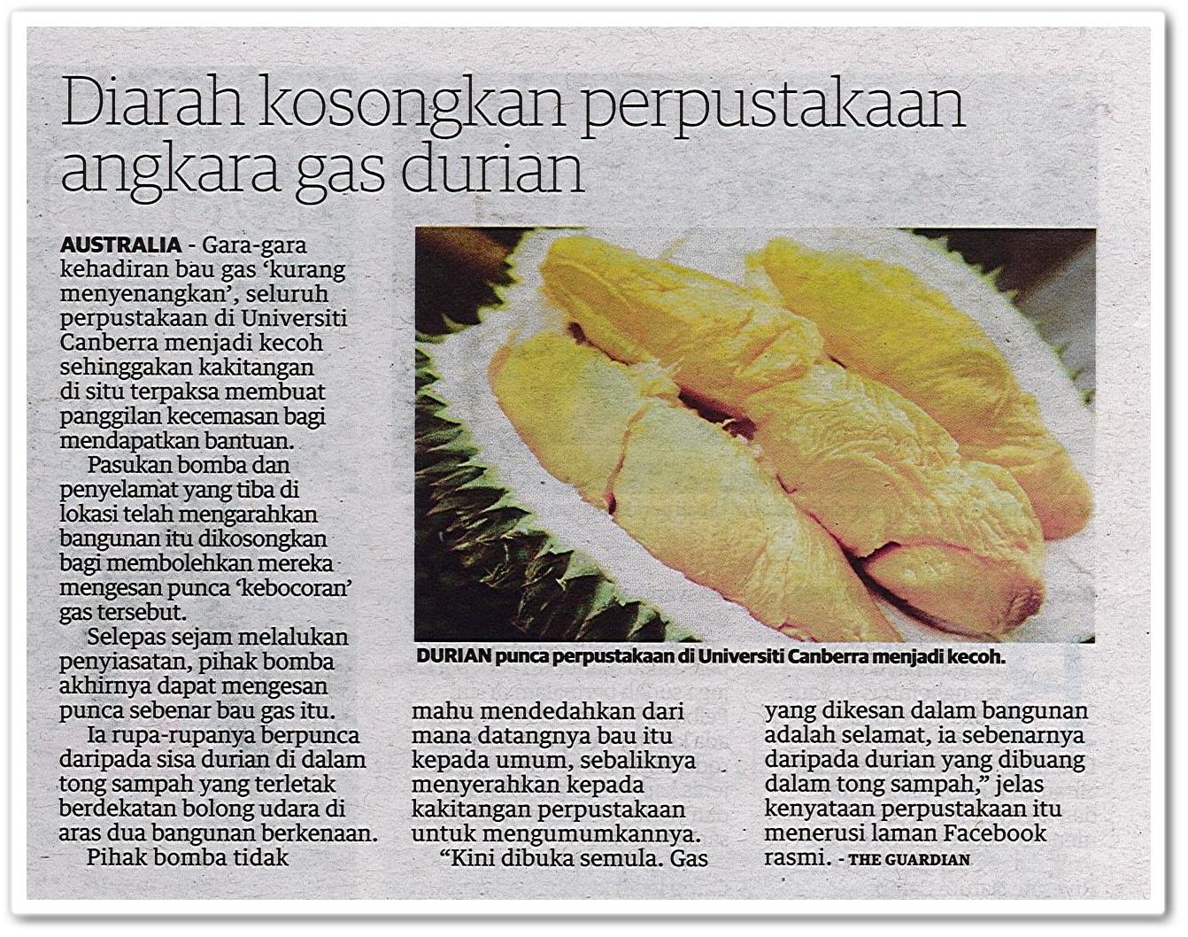 Diarah kosongkan perpustakaan angkara gas durian - Keratan akhbar Utusan Malaysia 18 Mei 2019