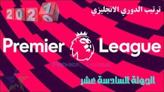 ترتيب الدوري الإنجليزي - الجولة السادسة عشر