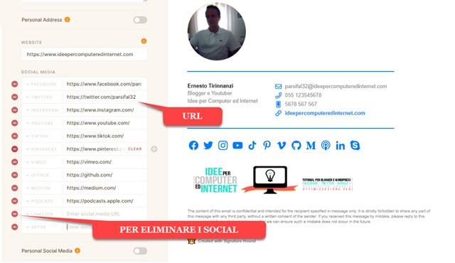 aggiunta indirizzi dei social network