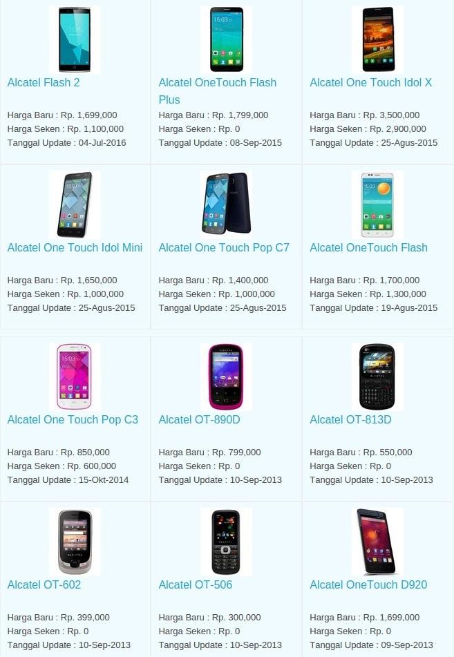 Daftar Harga Hp Terbaru Alcatel Juli 2016
