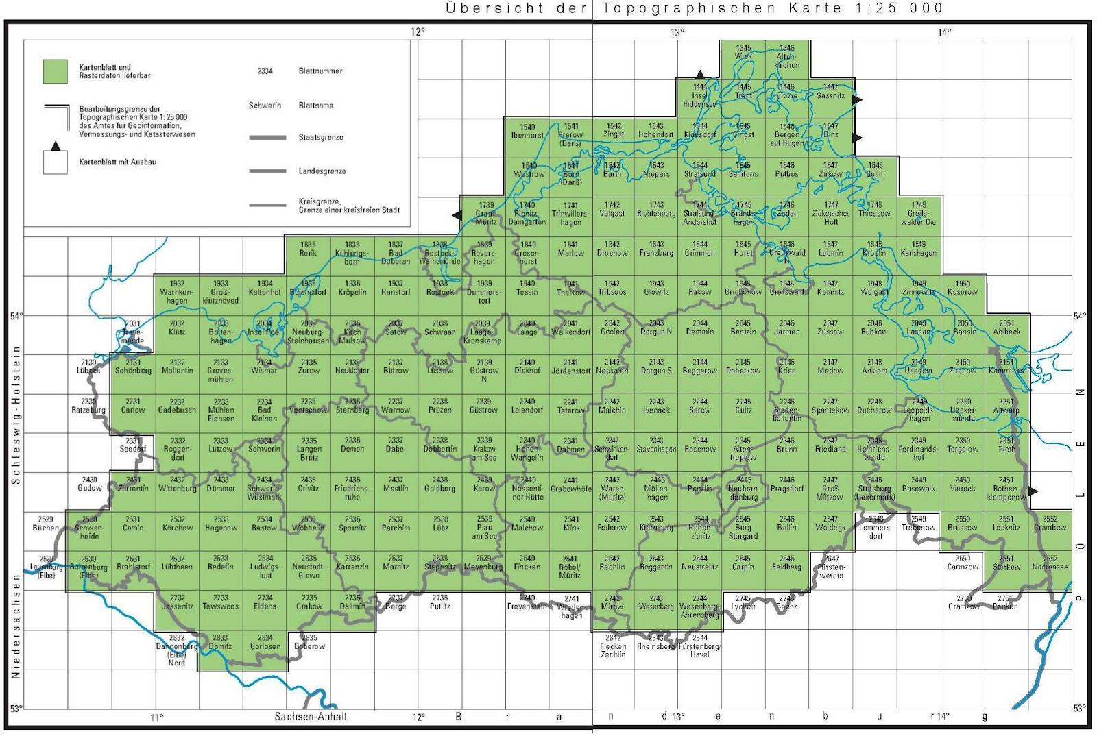 topographische landkarte von mecklenburg vorpommern 1 blattschnitte index. Black Bedroom Furniture Sets. Home Design Ideas