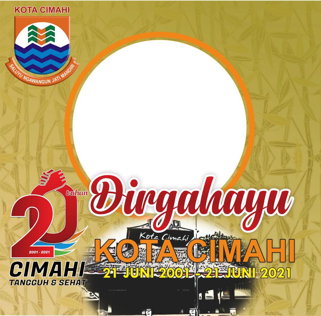 Template Desain Frame atau Bingkai Foto Twibbon Dirgahayu Kota Cimahi ke-20
