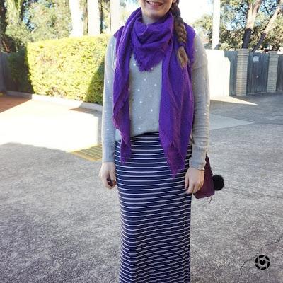 awayfromblue instagram witner maxi skirt blanket scarf foil print knit outfit