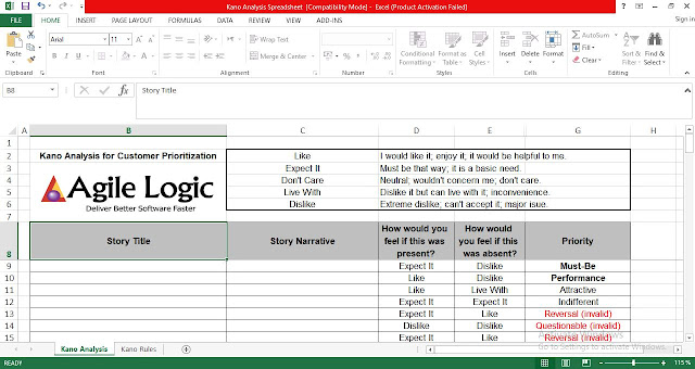 Kano Analysis Template in Excel