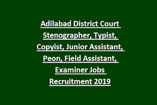 Adilabad District Court Stenographer, Typist, Copyist, Junior Assistant, Peon, Field Assistant, Examiner Jobs Recruitment 2019