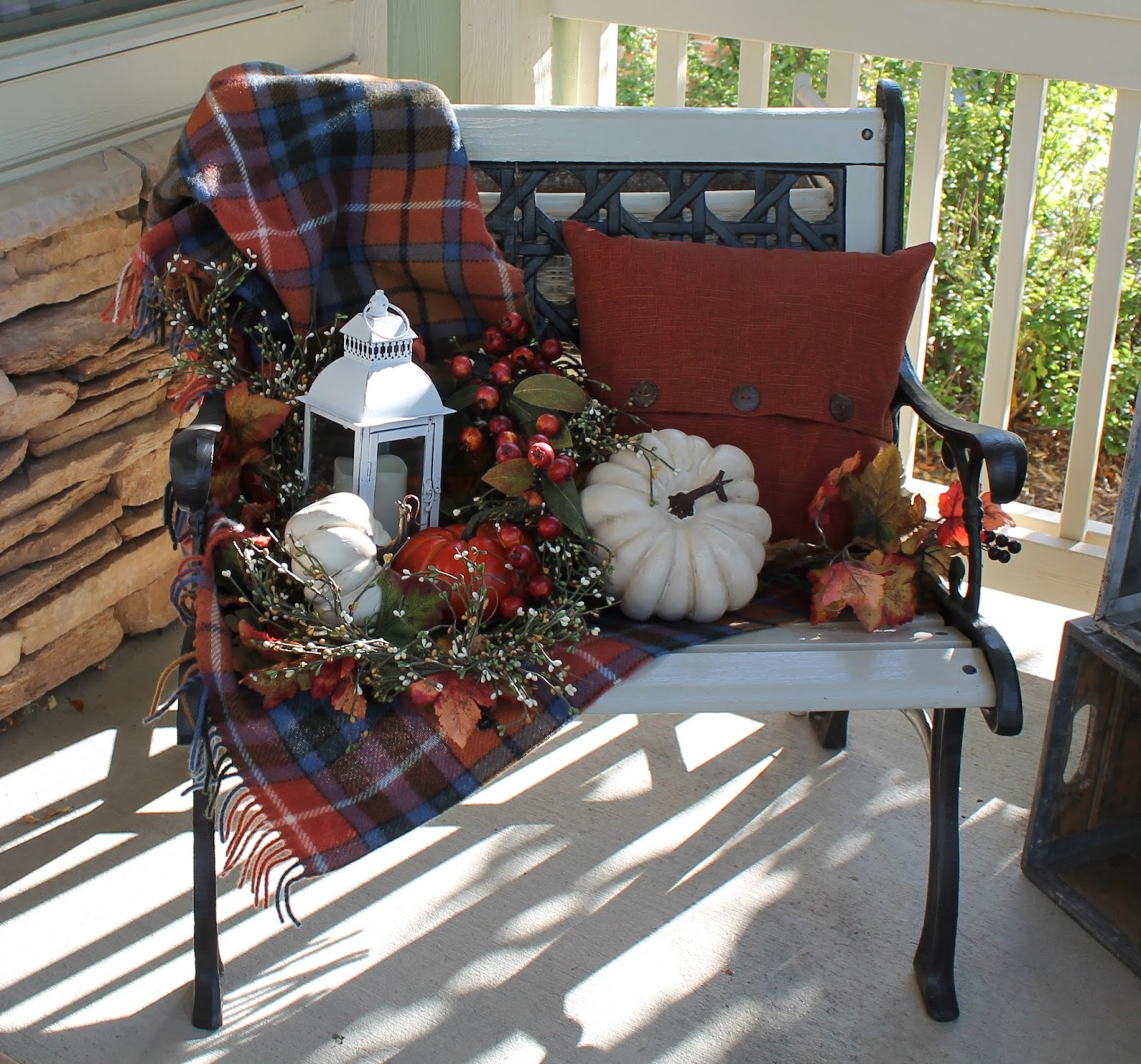 Porch Christmas Decorations Southern Seazons Fall Bench