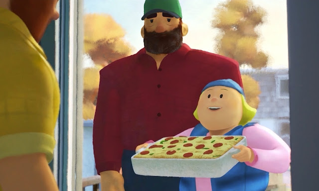 Greg's Mom holding a pizza casserole in Pixar's Out