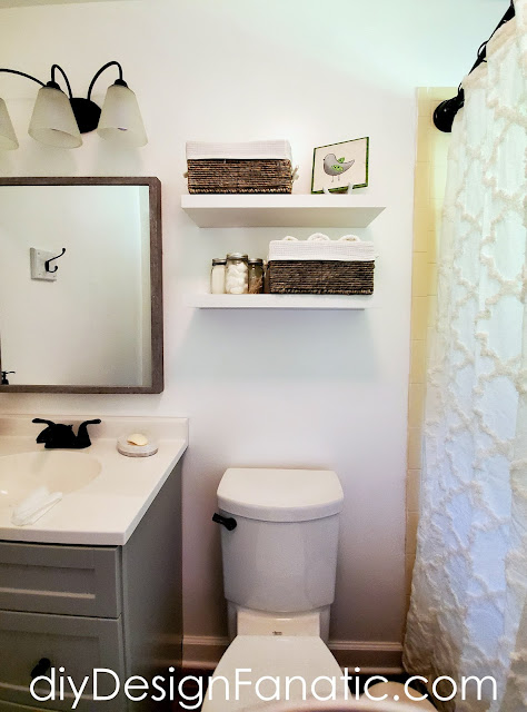 floating shelves, bathroom reno, bathroom makeover, full bath, mountain cottage, Lowe's Home Improvement