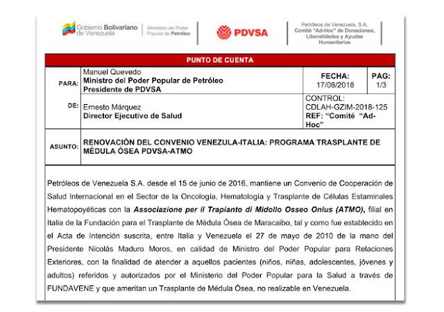 Asociación italiana que atiende a pacientes de trasplantes de médula ósea culpa a Pdvsa
