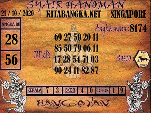 Kode syair Singapore Rabu 21 Oktober 2020 168