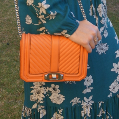 Rebecca Minkoff chevron quilted small Love crossbody bag in pale coral with teal floral dress | awayfromtheblue