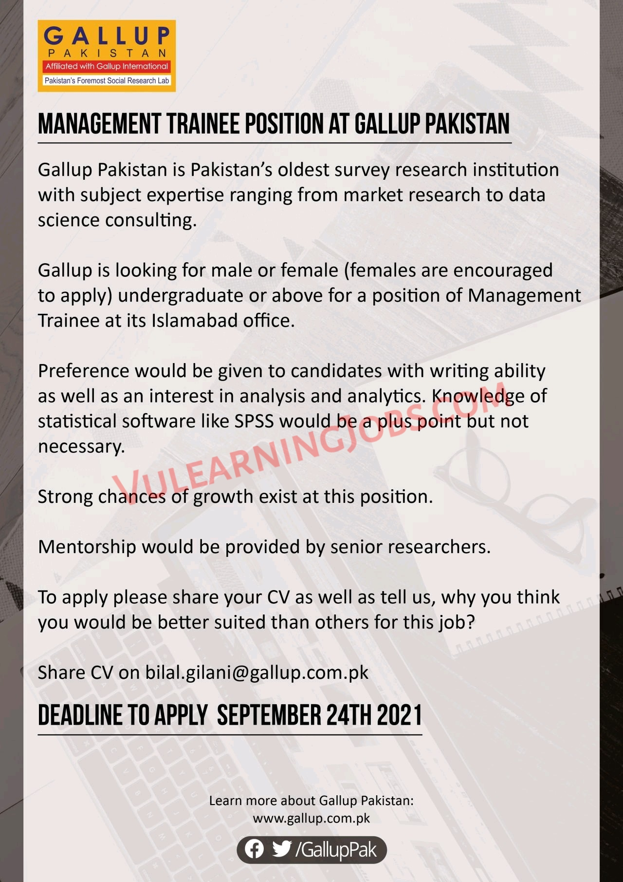 Gallup Pakistan Jobs September 2021 For Trainee Positions Latest