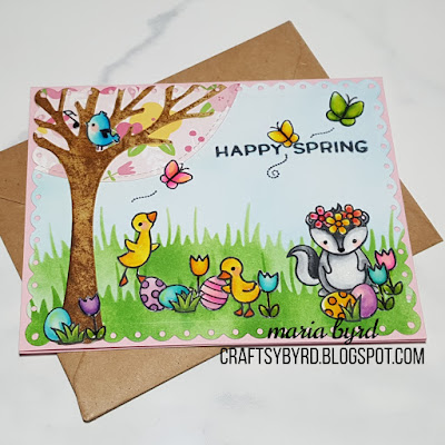 Spring card with ducks, stinkin critter, flowers, blue bird and butterflies by Maria Byrd at craftsybyrd.blogspot.com