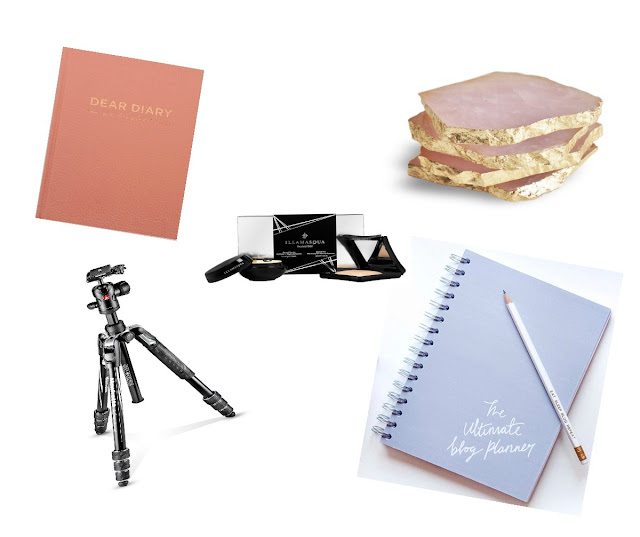 christmas wishlist, danielle levy, dear diary, manfrotto tripod, ultimate blog planner, illamasqua highlighter, gemstone coasters
