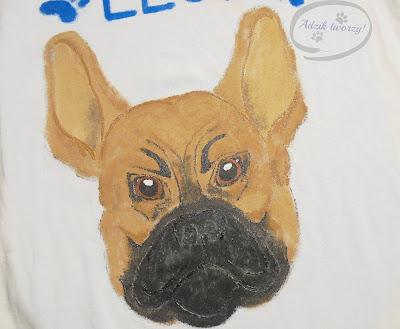 bluzka z buldożkiem francuskim ręcznie malowana