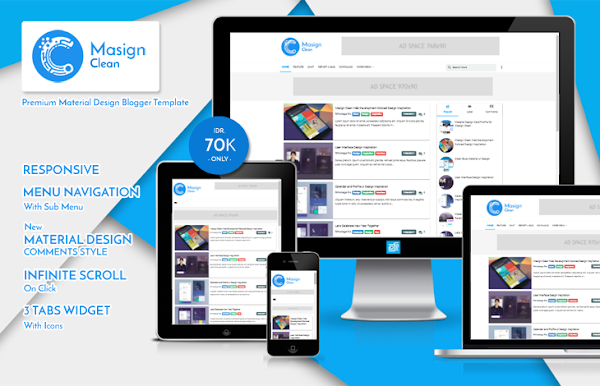 Masign Clean Premium Material Design Blogger Template