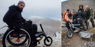 Τα κατάφερε και ανέβηκε με το αναπηρικό καροτσάκι στην κορυφή του Ολύμπου ο Κύπριος παραπληγικός