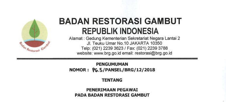 Lowongan Kerja Badan Restorasi Gambut Tahun 2018