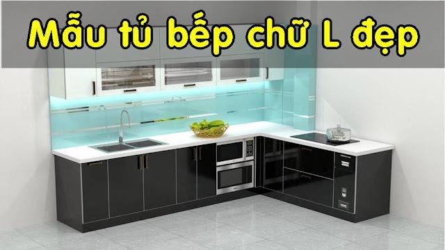 Mẩu tủ bếp chữ L nhôm kính đẹp