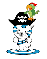 sakaiger kitty, with a pirate hat and pirate parrot perched on the side of his hat
