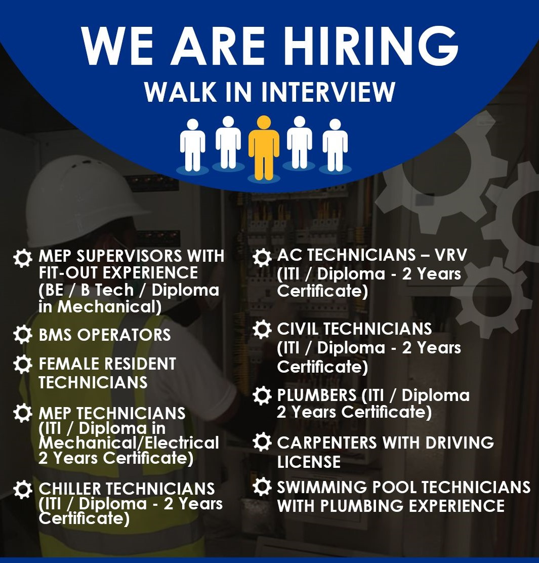 ITI and Diploma Jobs Vacancy In Dubai and Abu Dhabi, UAE  Locations   Direct Walk In Interview