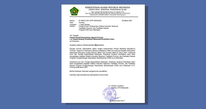 Pelaksanaan Seleksi Instruktur Nasional, Fasilitator Provinsi, dan Fasilitator Daerah Program PKB Guru Madrasah 2021