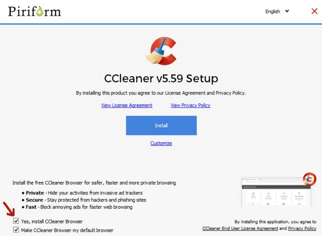CCleaner finestra installazione con selezionata l'opzione per installare anche CCleaner Browser