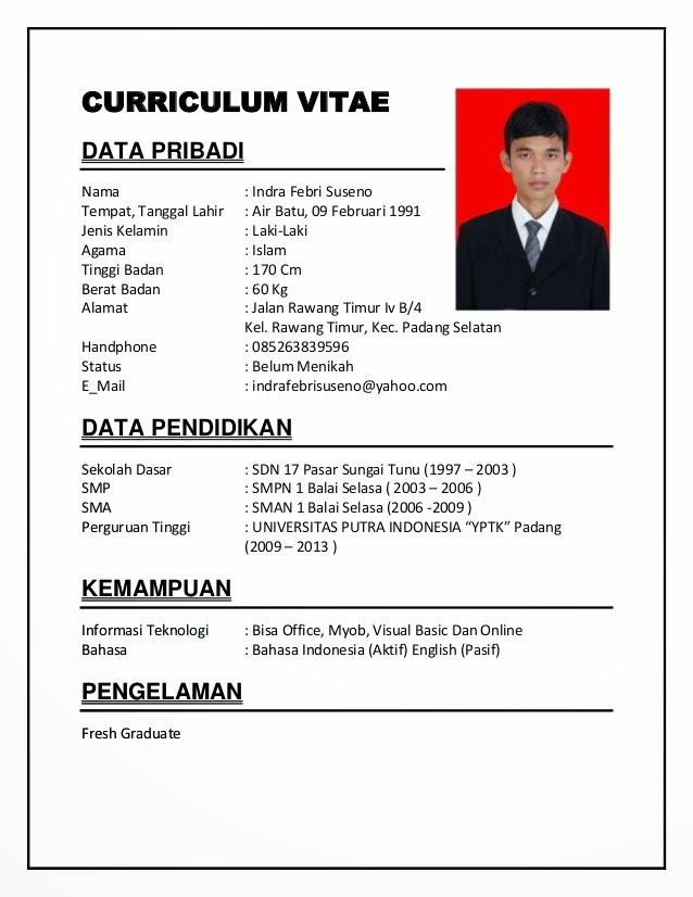 Contoh Daftar Riwayat Hidup Dalam Bahasa Indonesia Cv Nabila