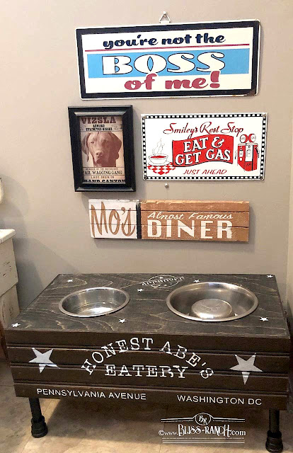 Dog Feeding Staying DIY Pile Legs, Old Sign Stencils Bliss-Ranch.com