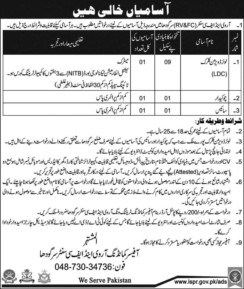 Jobs in Pakistan Army at RV And FC Centre Sargodha May 2018
