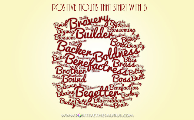 positive nouns that start with b word cloud