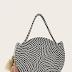 Tassel Detail Striped Satchel Bag