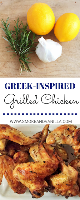 New Pin for Greek-inspired Grilled Chicken Recipe by www.smokeandvanilla.com - An easy and healthy marinade with lemon, garlic, and rosemary. http://bit.ly/2mGLgHu