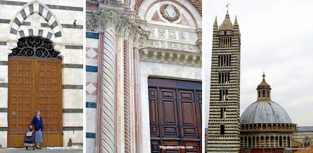Detalhes da fachada da Catedral de Siena, Itália