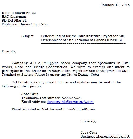 Fast Online Help - letter of intent in construction - letter of interest format