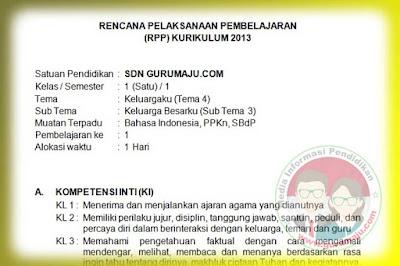 RPP Kelas 1 Tema 4 Semester 1 Kurikulum 2013 Revisi Tahun 2019