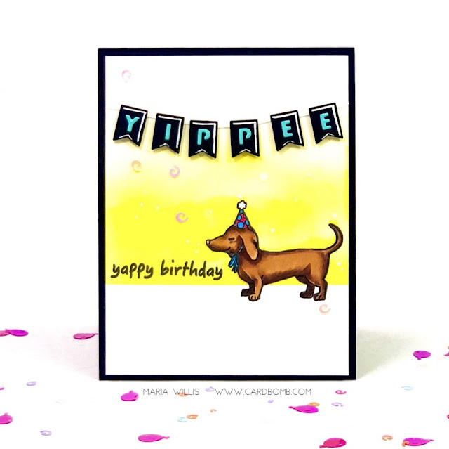 #cardbomb, #mariawillis, #heroarts, #mymonthyhero, #cards, #stamp, #ink, #paper, #papercraft, #color, #dog, #happybirthday, #art, #copics, #copicmarkers,