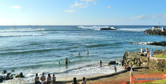 Praia de Pea, no Centro de Hanga Roa, Ilha de Páscoa