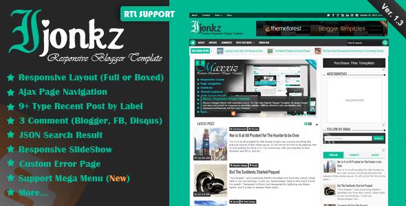 Ijonkz - Responsive Magazine/News Blogger Template