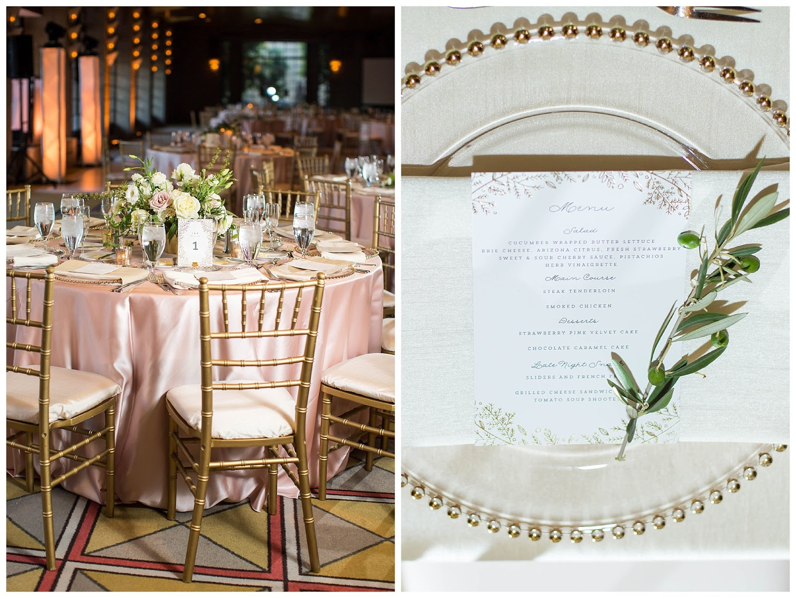 wedding reception table with blush table cloths with gold chairs white flower arrangements