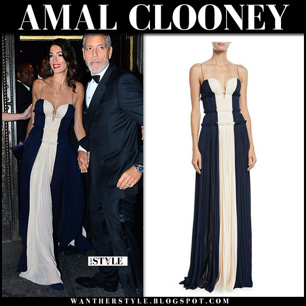 Amal Clooney in two tone blue and white pleated maxi dress j.mendel red carpet look december 5