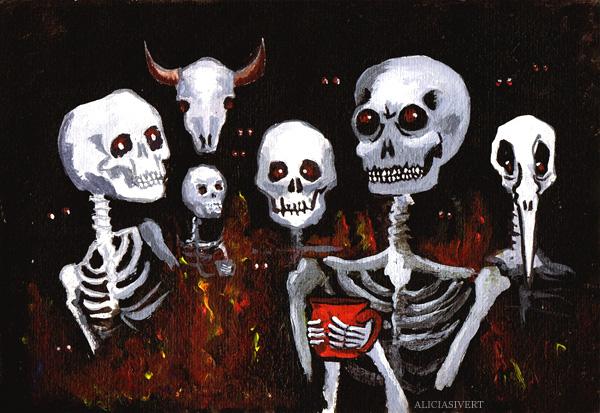 aliciasivert, alicia sivertsson, prestationsdjävlarna, 2012, helvetet, djävul, djävlar, skelett, dödskalle, dödskallar, skalle, skallar, tekopp, kaffekopp, kopp, eld, död, ben, benknotor, skull, death, skeleton, skeletons, skulls, cup, coffee, tea, hell, bone, bones
