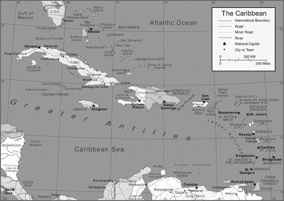 Grascale Caribbean Map Islands
