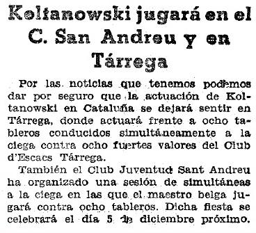 Recorte de Mundo Deportivo del 22 de noviembre de 1934