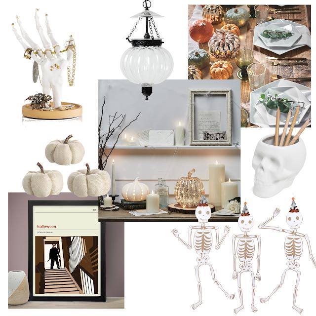 white minimal halloween decor collage